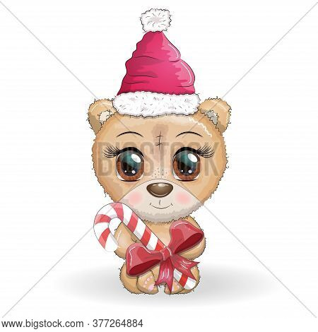 Cute Cartoon Bear With Big Eyes In A Christmas Hat With A Caramel Cane, Merry Christmas And New Year