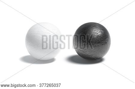 Blank Leather Black And White Ball Mockup Set, 3d Rendering. Empty Imitation Leathern Material Glob