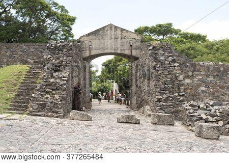 Colonia Del Sacramento / Uruguay; Jan 2, 2019: Ancient Field Gate (puerta Del Campo, In Spanish), St