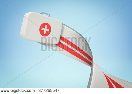 3d Rendering Of First Aid Medical Box With Trail On Blue Background