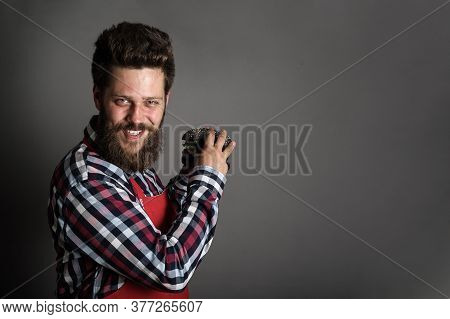 Greedy Man With A Hamburger In His Hands Fast Food Diet Eating Copy Space For Text Background
