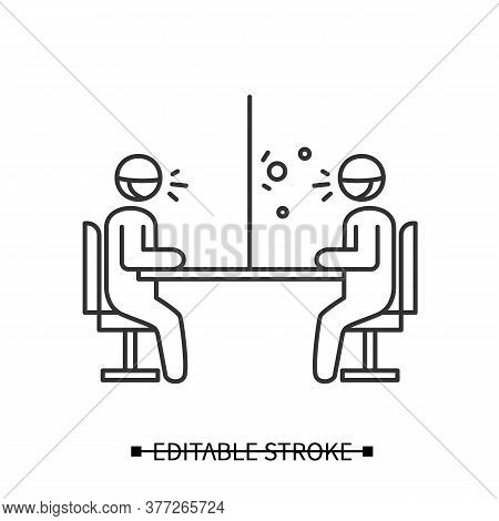Glass Barrier Icon. People Sitting And Talking Trough Safety Screen Linear Pictogram. Concept Of Cov