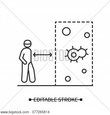 Keep Social Distance Icon. Person With Space Indication Arrow Entering Covid Infection Area Linear P