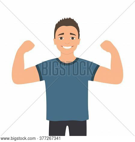 Cartoon Muscular Man. Funny Athletic Guy. Happy Man Proudly Shows His Muscles In Strong Arms.