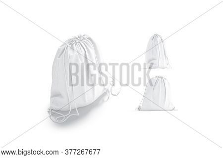 Blank White Drawstring Backpack Mockup, Different Views, 3d Rendering. Empty Cloth Packet With Rope