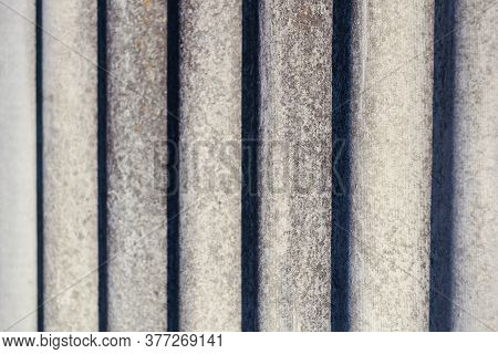 Corrugated Slate Gray Background With Contrasting Shadows