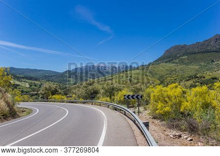 Curve In The Road Through Grazalema National Park, Spain