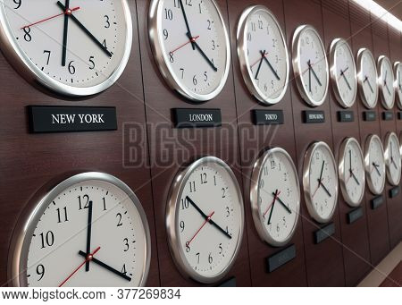 World Wide Time Zone Clock. Clocks On The Wall, Showing The Time Around The World. 3d Illustration.