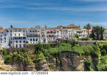 White Houses At The Canyon In Historic City Ronda, Spain
