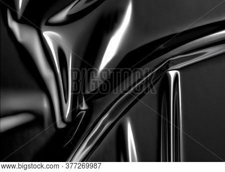 Blank Black Plastic Foil Wrap Overlay Mock Up, 3d Rendering. Empty Decorative Polythene Tape Overlap