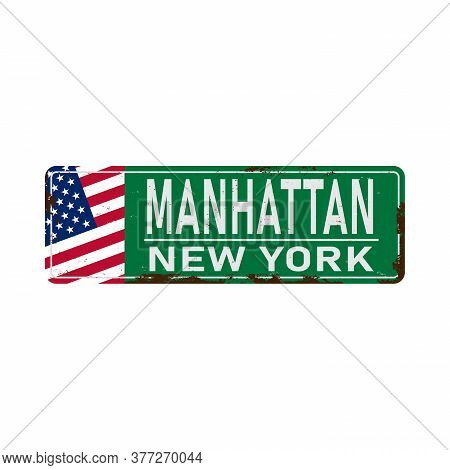 Manhattan Green Road Sign Isolated On White Background.