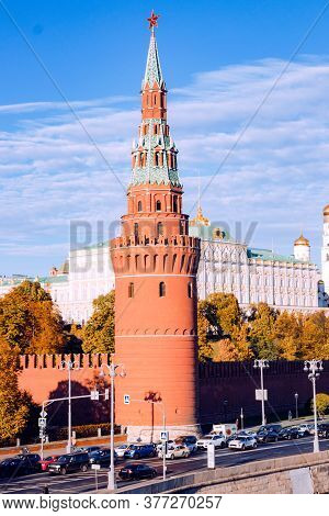 Kind To The Moscow Kremlin, Grand Kremlin Palace, Cathedrals And Quay Moskva River On An Autumn Day
