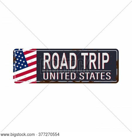 Isolated Road Trip Sign - American Blue And Red Motorway Road Sign On White Background