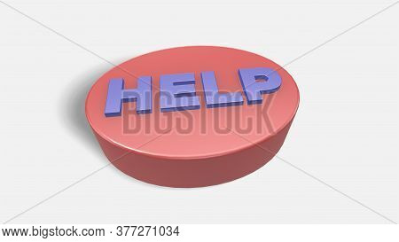 3d Render Glossy Help Button On White Background