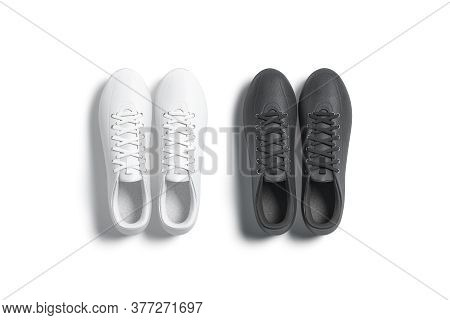 Blank Black And White Soccer Boots Pair Mockup Set, Top View, 3d Rendering. Empty Running Or Footbal