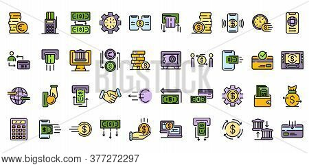 Money Transfer Icons Set. Outline Set Of Money Transfer Vector Icons Thin Line Color Flat On White