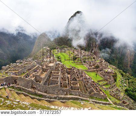 Machu Picchu, Panoramic View Of Peruvian Incan Town, Unesco World Heritage Site, Sacred Valley, Cusc
