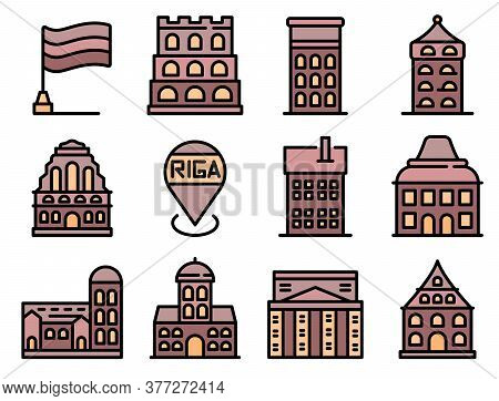 Riga Icons Set. Outline Set Of Riga Vector Icons Thin Line Color Flat On White