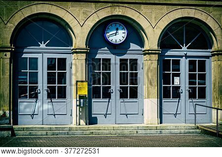 Winnenden,germany - July 19,2020:train Station This Is The Big,wooden Entrance Of The Old Building O