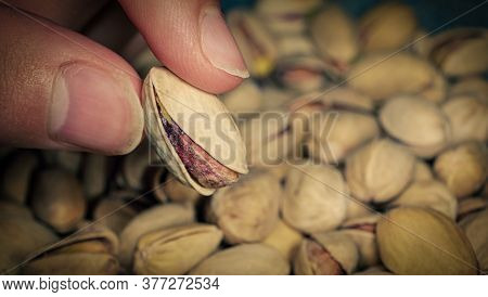 Seller Is Holding One Of Pistachios Over The Full Surface Of It.