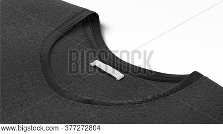 Blank Black T-shirt Collar With White Narrow Rectangular Label Mockup, 3d Rendering. Empty Tee-shirt