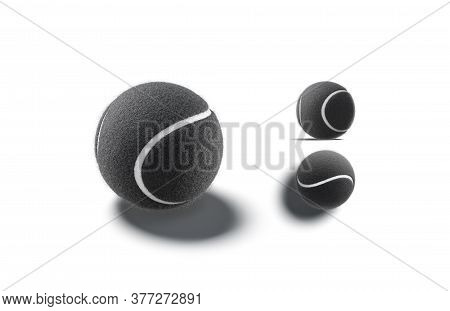 Blank Black Tennis Ball Mockup, Different Views, 3d Rendering. Empty Fuzz Textured Sphere For Game T