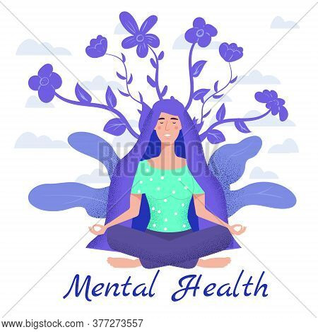 Mental Health Yoga Meditation Woman Sit In The Lotus Position Meditate. Mental Calmness And Self Con
