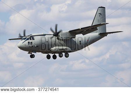 Fairford / United Kingdom - July 12, 2018: Italian Air Force Leonardo C-27j Spartan Mm62223 Transpor