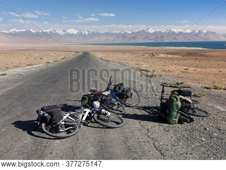 Three Bicycles On Pamir Highway, Pamir Mountains, Pamirskij Trakt M41 International Road, Karakul La