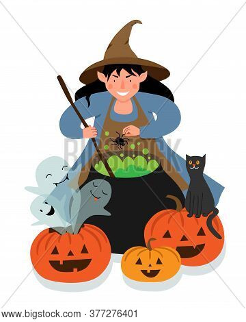 The Witch Brews A Spider Potion In A Large Cauldron. Halloween Scene With A Witch, Pumpkins, Ghosts