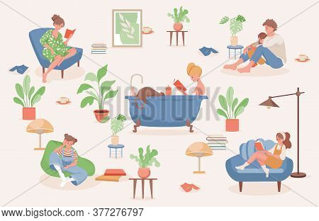 Stay And Relax At Home Vector Flat Illustration. Happy Smiling People Spending Weekend At Home Toget