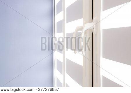 Closed Window Or Door With Metal Jalousie. Office Meeting Room Lighting Range Control.