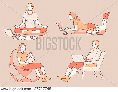 Work And Relax At Home Vector Cartoon Outline Illustration. Happy People In Comfortable Clothes Work