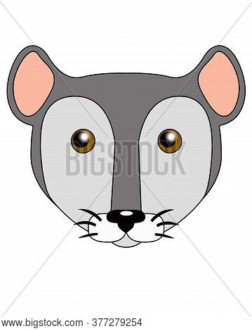 Cute Cartoon Mouse Or Rat - Vector Full Color Illustration. Muzzle Of A Gray Mouse. Rat Head Emotico