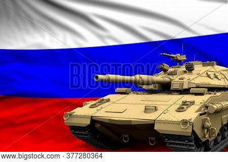 Heavy Tank With Fictional Design On Russia Flag Background - Modern Tank Army Forces Concept, Milita