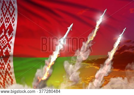 Belarus Ballistic Missile Launch - Modern Strategic Nuclear Rocket Weapons Concept On Sunset Backgro