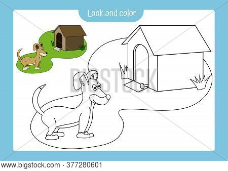 Look And Color. Coloring Page Outline Of A Dog With Colored Example. Vector Illustration, Coloring B