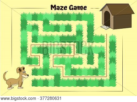 Dog And Doghouse Maze.educational Game For Children. Help The Dog Run To Its Kennel - Maze Puzzle Wi