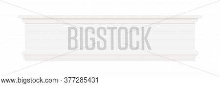 White Color Plastic Styrofoam Or Wood Baseboard Molding Isolated On White Background. Architectural