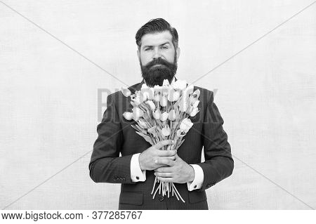 Greetings. Bearded Man With Tulip Bouquet. Love Date. Womens Day. March 8. Spring Gift. Bearded Man