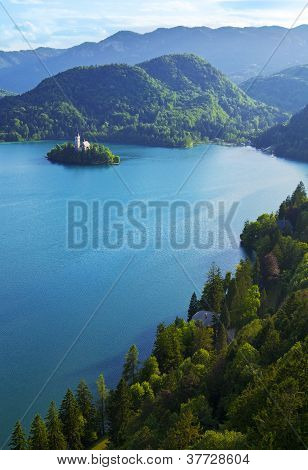 Top View Of Bled Lake In Slovenia