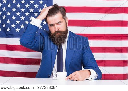 American Politician In Election. His Election Campaign. Bearded Man Drink Coffee Cup. American Educa