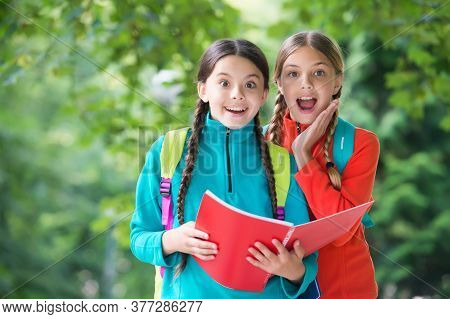 Let Your Imagination Explore. Happy Kids Read Book Natural Outdoors. Childhood Imagination. Imaginat