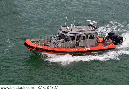 Miami Beach,florida,u.s.a. 19 July 2020.  U.s. Coast Guard Patrol Boat On The Florida Intra-coastal