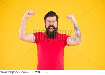 Winner And Victory. Joyful Guy. Inner Energy. Motivated For Success. Bearded Man In Casual Style Cel