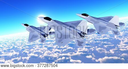 Three F-22 Fighter Jets 3d Illustration - Three F-22 Fighter Jets With Supersonic Twin-engines Cruis