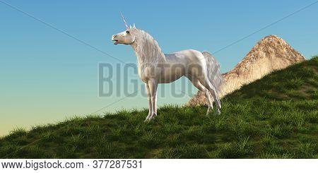 Unicorn Stallion 3d Illustration - A Magical White Unicorn Stallion Stands Majestically On A Hilltop