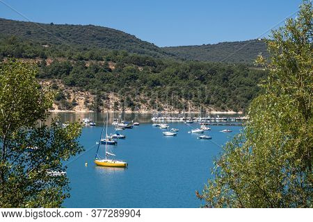 Bauduen, France - July 5, 2020: Lake Of The Holy Cross - Le Lac De Sainte Croix In Provence