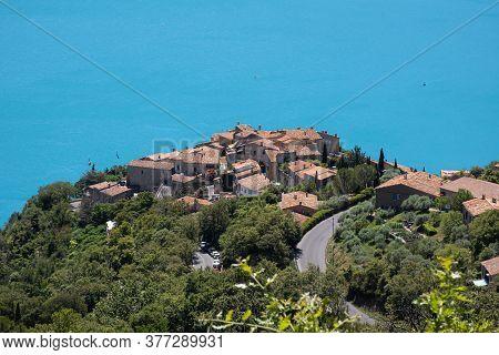 Bauduen, France - July 5, 2020: Sainte Croix Du Verdon At The Lake Of The Holy Cross