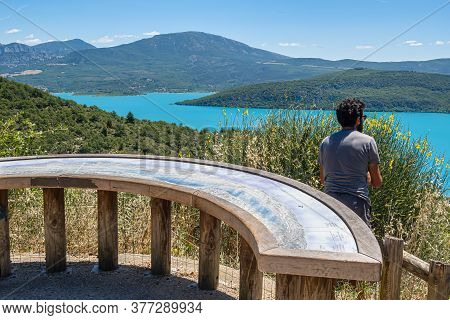 Bauduen, France - July 5, 2020: Bauduen, France - July 5, 2020: Lake Of The Holy Cross - Le Lac De S
